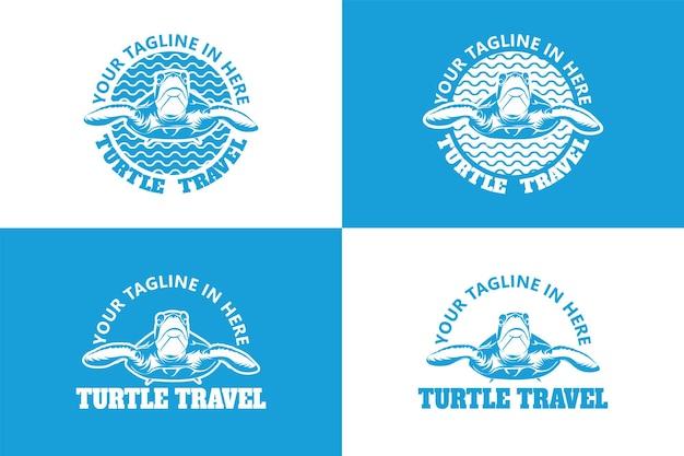 Modelo de logotipo de viagem tartaruga vetor premium