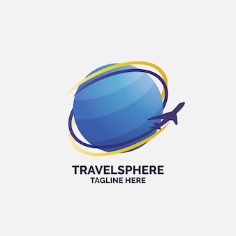 Modelo de logotipo de viagens com globo e avião