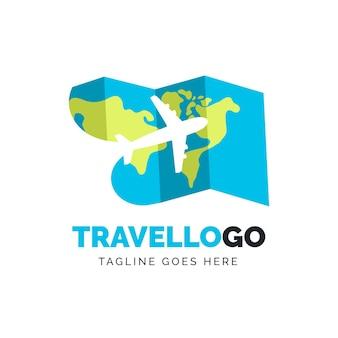 Modelo de logotipo de viagens com mapa e avião