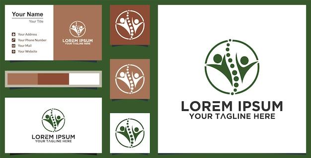 Modelo de logotipo de vida saudável e inspiração de cartão de visita vetor premium
