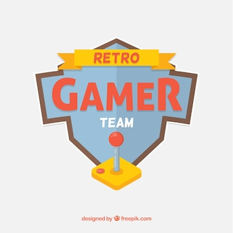 Modelo de logotipo de videogame com estilo retro