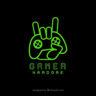 Modelo de logotipo de videogame com joystick