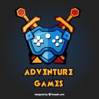 Modelo de logotipo de videogame de aventura
