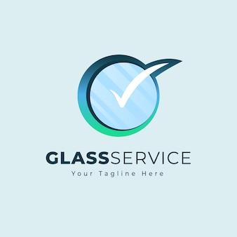 Modelo de logotipo de vidro plano