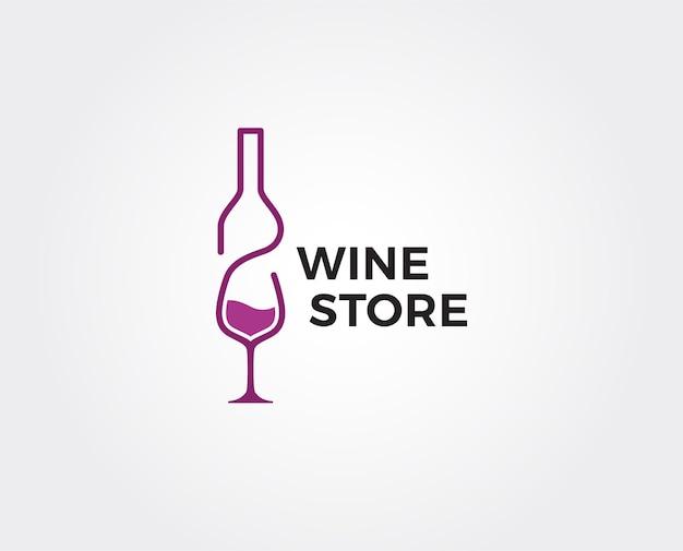Modelo de logotipo de vinho mínimo