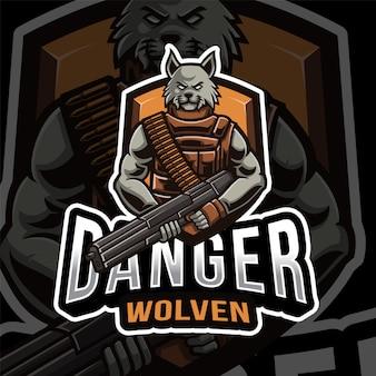 Modelo de logotipo de wolven esport de perigo