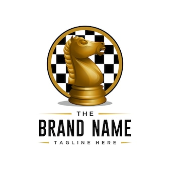 Modelo de logotipo de xadrez de cavaleiro de estilo 3d