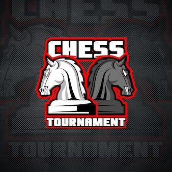 Modelo de logotipo de xadrez de cavalo.