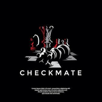 Modelo de logotipo de xadrez xeque-mate