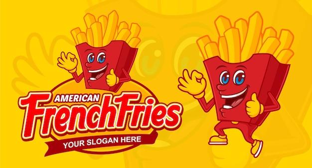 Modelo de logotipo delicioso de batatas fritas americanas, com personagem de desenho animado e texto
