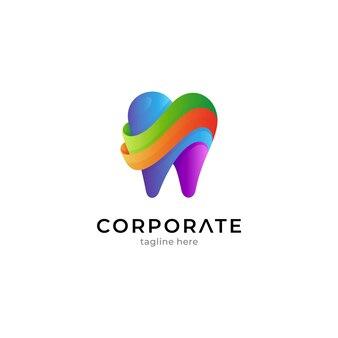 Modelo de logotipo dental colorido com várias camadas de cores
