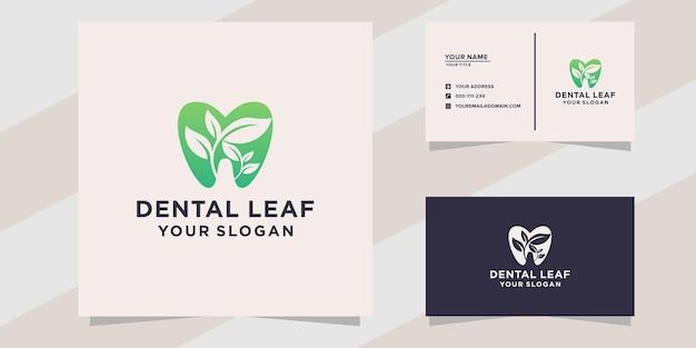 Modelo de logotipo dental folha