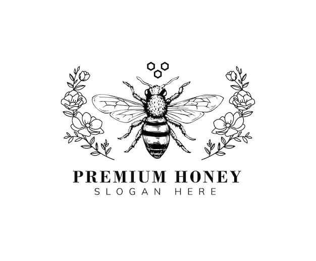 Modelo de logotipo desenhado à mão de abelha do mel