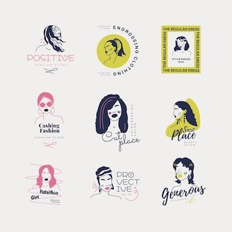 Modelo de logotipo desenhado à mão para meninas da moda