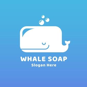 Modelo de logotipo desenhado de sabonete de baleia