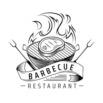 Modelo de logotipo detalhado de churrasco
