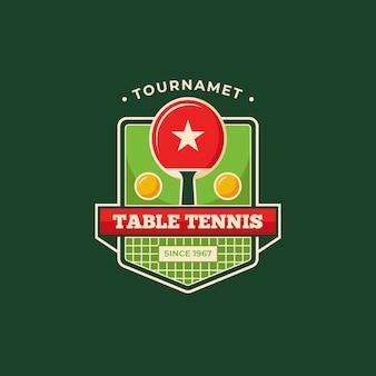 Modelo de logotipo detalhado de torneio de tênis de mesa