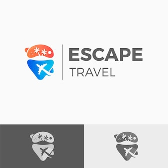 Modelo de logotipo detalhado de viagem