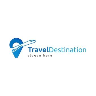 Modelo de logotipo detalhado de viagens com espaço reservado para slogan