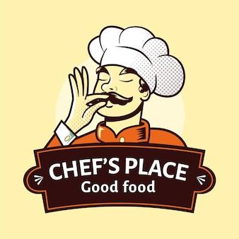 Modelo de logotipo detalhado do chef