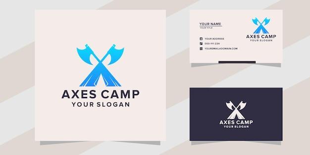 Modelo de logotipo do acampamento axes