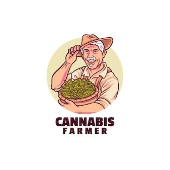 Modelo de logotipo do agricultor de cannabis