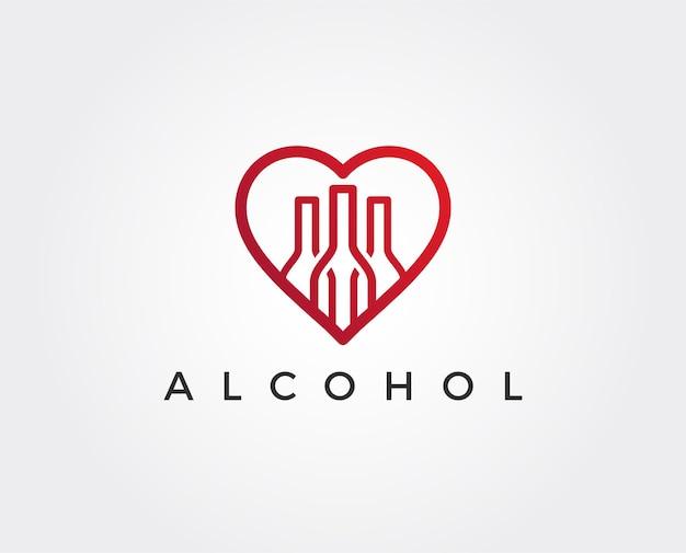 Modelo de logotipo do bar de vinhos. taças de vinho tinto e branco