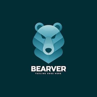Modelo de logotipo do beaver gradient colorful style