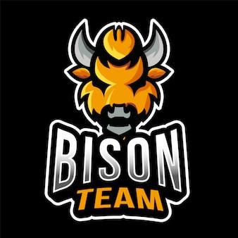 Modelo de logotipo do bison team esport