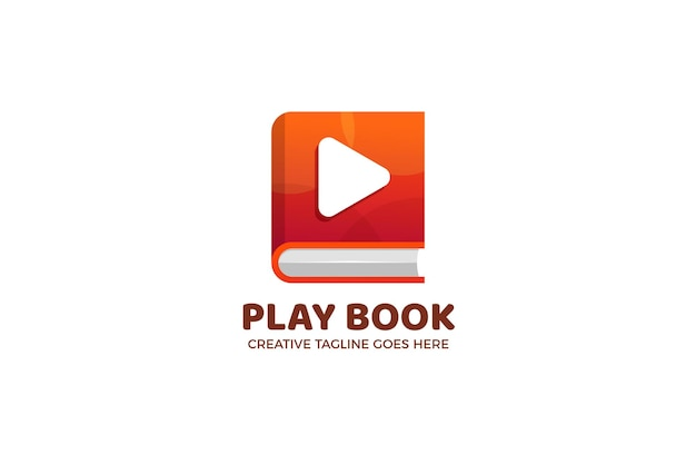 Modelo de logotipo do botão book and play