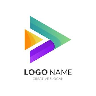 Modelo de logotipo do botão de reprodução, estilo de logotipo 3d moderno em cores gradientes vibrantes