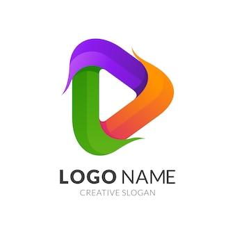 Modelo de logotipo do botão de reprodução, logotipo moderno em gradiente de cores vibrantes