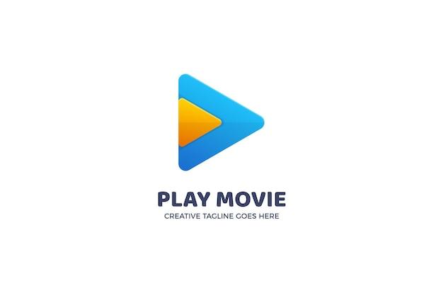 Modelo de logotipo do botão reproduzir filme