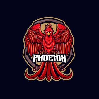 Modelo de logotipo do burning phoenix mascot