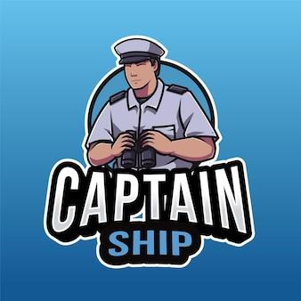 Modelo de logotipo do capitão navio isolado em azul