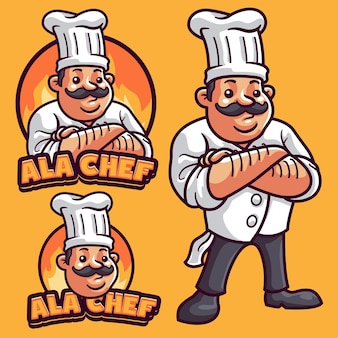 Modelo de logotipo do chef mascote