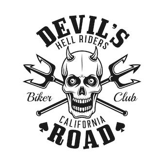 Modelo de logotipo do clube de motociclistas com caveira de diabo e dois tridentes cruzados