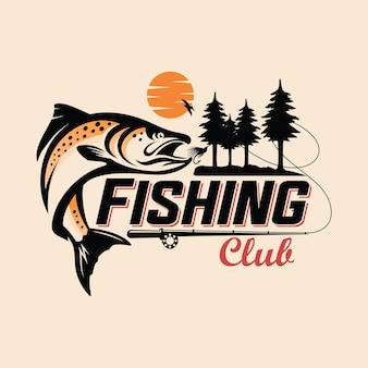 Modelo de logotipo do clube de pesca com peixes e árvores