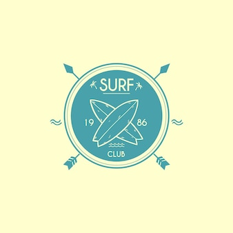 Modelo de logotipo do clube de surf