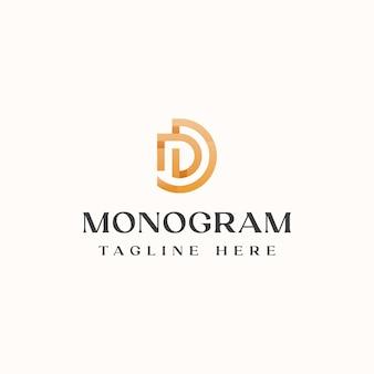 Modelo de logotipo do conceito de monograma letra d