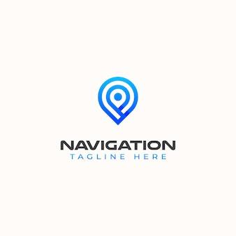 Modelo de logotipo do conceito moderno de monograma de navegação.