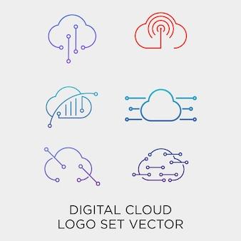 Modelo de logotipo do conjunto de linha de tecnologia digital em nuvem