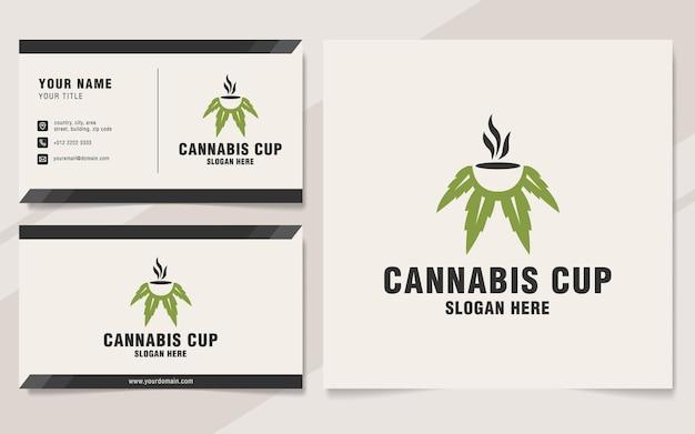 Modelo de logotipo do copo de cannabis no estilo monograma