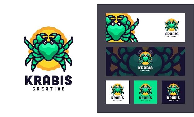Modelo de logotipo do crab creative modern animal set