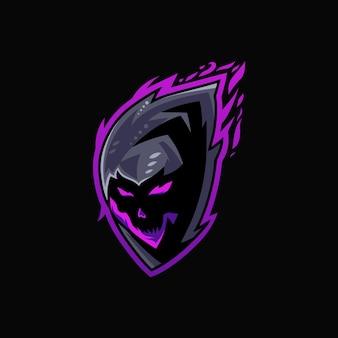 Modelo de logotipo do crânio mascote