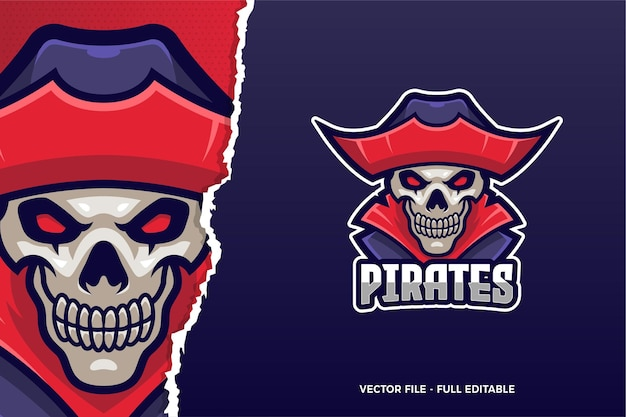 Modelo de logotipo do crânio pirata e-sport