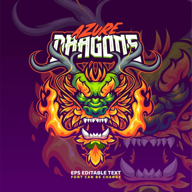 Modelo de logotipo do dragon mascot