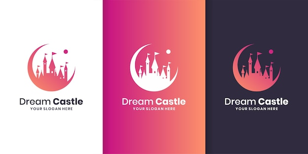 Modelo de logotipo do dream castle com estilo gradiente moderno