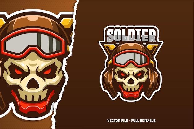Modelo de logotipo do e-sport do crânio do soldado
