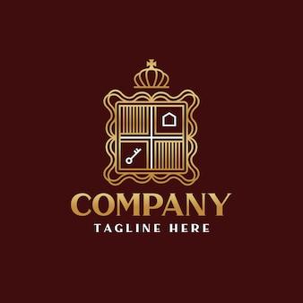 Modelo de logotipo do emblema de luxo imobiliário